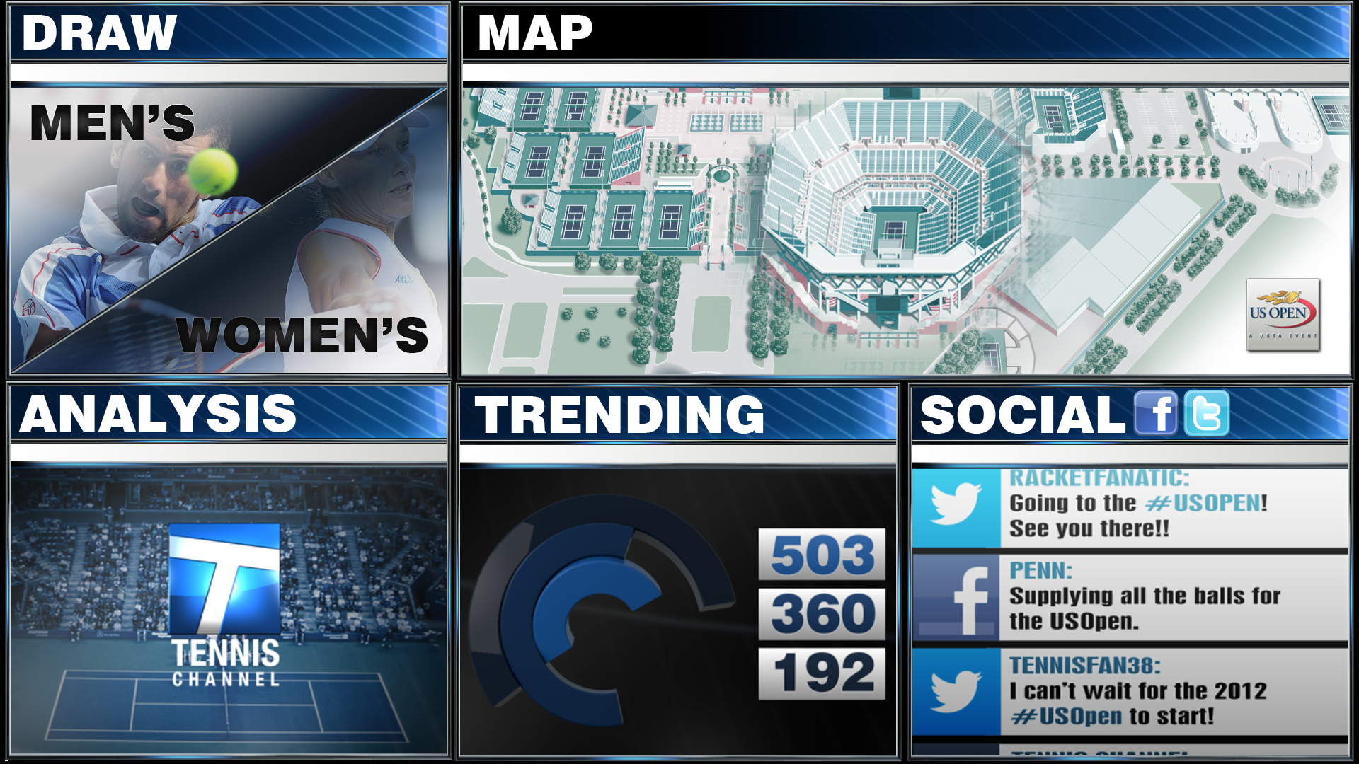 Smt Serves Up Tennis Channels Goto Board At Us Open - Us-open-tennis-center-map