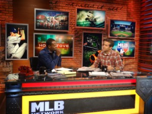 Harold Reynolds (left) and Matt Vasgersian host MLB Network's morning show, Hot Stove, live from Studio K.