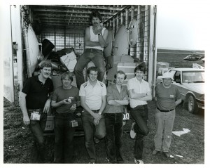 Loading up the truck after the 1982 Bathurst 1000 (Bottom row, left to right: John Porter, Robbie Briar, Peter Larsson, Dave Joyce, Steve Joyce, and Darrell Drake; Top Row: John Wheelbarrow)
