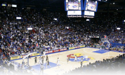 Allen Fieldhouse sports Daktronics HD displays added to the existing center-hung scoreboard.
