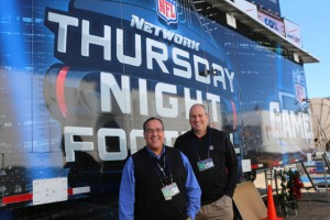 NFL's Glenn Adamo (left) and NFL Network's Dave Shaw on the site of Super Bowl XLVII