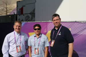 (l-to-r) Lee Estroff, Johnny Pastor, and Lane Robbins of Bexel outside of BBS1 at Super Bowl XLVII.