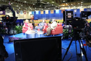 The NFL Network's stage in the convention center has two sets so that broadcasts can quickly offer a different look and feel.