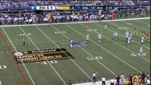 SMT's virtually inserted graphics show the target distance and career long for Pittsburgh placekicker Shaun Suisham.