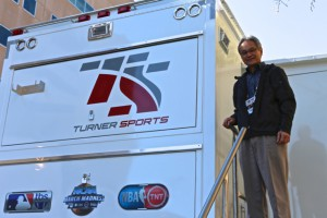 Tom Sahara of Turner Sports outside of TS2 which makes its NBA All-Star Game debut tomorrow for the halftime entertainment portion of the All-Star Game.