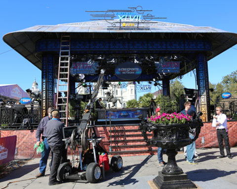 CBS Super Bowl Park at Jackson Square is set up in the heart of the French Quarter.