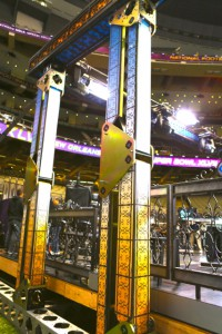 A newly designed knuckle for the CBS Sports stage will help the stage roof get lowered in 10 seconds.