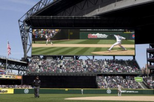 A rendering of the Seattle Mariners' new video board