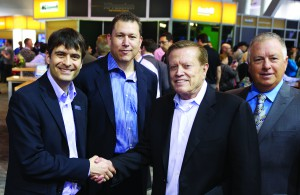 Pictured at NAB 2013 are (L-R) David Ross, CEO of Ross Video; Charles Herring, President of One America News Network; Robert Herring, CEO of One America News Network; and Chan Mahon, EVP of Broadcast Systems, Integrated Media Technologies.