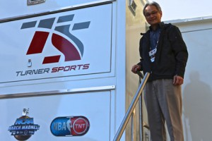 Tom Sahara of Turner Sports outside of Turner's TS2 truck at the NBA All-Star Game in February.