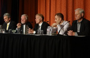 From left: FOR-A's Jay Shinn, Canon USA's Larry Thorpe, Sony's Hugo Gaggioni, Evertz's Vince Silvestri, and FUJIFILM's Thom Calabro