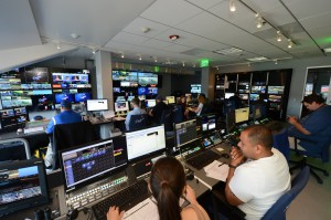 The Dodgers' revamped control room during a game against the Washington Nationals