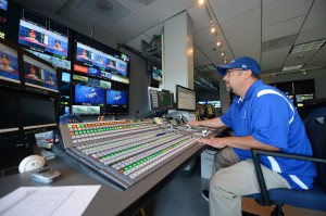 Dodgers Technical Director Dan Valdivia mans the new Sony MVS-7000X switcher.