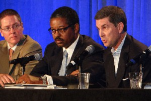 From left: CBS Sports Network's Chris Fitzpatrick, Fox Sports Networks' Roy Hamilton, and Big Ten Network's Mark Hulsey