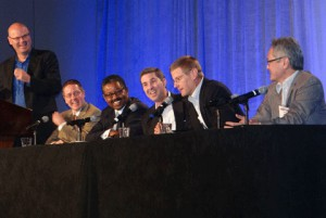 Panel on production tools: (from left) SVG's Ken Kerschbaumer, CBS Sports Network's Chris Fitzpatrick, Big Ten Network's Mark Hulsey, Fox Sports Networks' Roy Hamilton, ESPN's Dave Miller, and Turner Sports' Tom Sahara