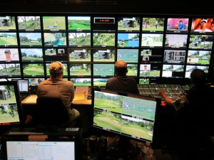 Inside Game Creek's Pride production truck, where ESPN's interactive team is creating three channels of programming.