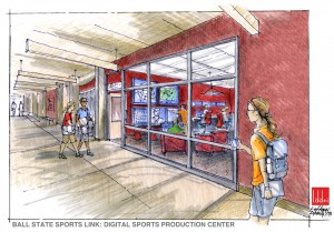 A rendering of Ball State Sports Link's new digital sports production facility.