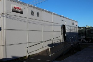 An exterior shot of ESPN's main production area for the Open.