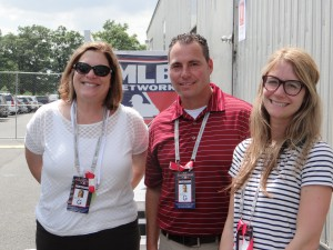 From left to right, MLB Network's Susan Stone, Tom Guidice, and Production Manager Brooke Berger