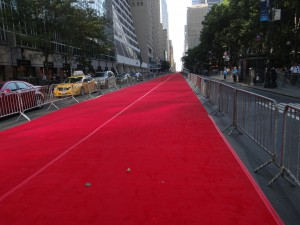 An 80,000-square-foot red carpet stretches from Manhattan's Sixth Avenue to Second, along 42nd Street.