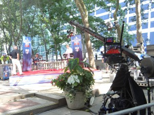 MLB Network crews were busy prepping the Bryant Park set for the Red Carpet Show.