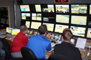 The ESPN ITV front bench production team inside CTV OB's 9HD unit at the Open in Scotland.