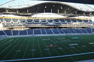 Undulating roof acts as noise baffle on Investors Group Field, in Winnipeg, MB.
