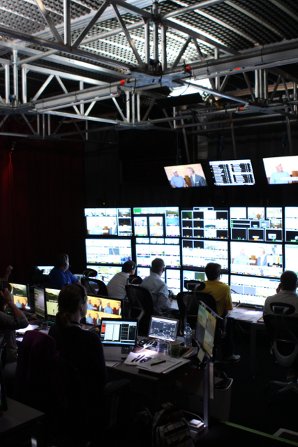 A look at ESPN's main production area and front bench.