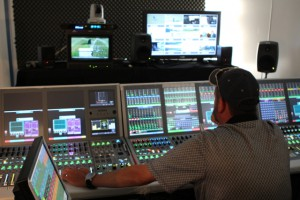 The Calrec Artemis audio console at the center of ESPN's audio presentation of the Open.