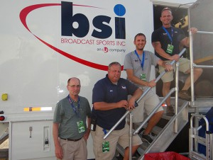 BSI Remote Operations Supervisor Lou Meyers (far right) and his team on-site at L.A. Live