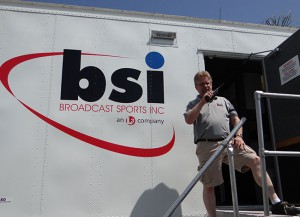 BSI Technology Development Manager Clay Underwood outside his truck at Irwindale Event Center