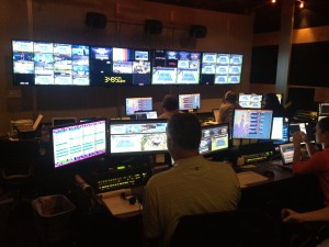 Inside the control room that handles videoboard needs throughout the Billie Jean King Tennis Center