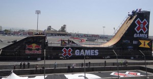 The Big Air Ramp shown here must be completely deconstructed overnight on Friday to make way for Gymkhana and RallyCar events over the weekend, complicating things for the ESPN production team.