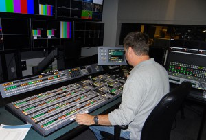 The Sony MVS8000G switcher inside the Studio B control room.