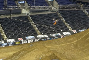 The JITA (jib in the air) camera on hand at Staples Center during a MotoX practice session.