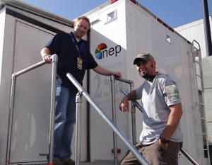NEP Supershooters Manager Michael Pean (left) and NEP Engineering Manager Nick Romano outside SS25 at L.A. Live