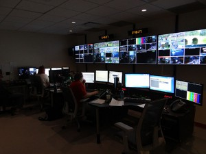 The newsroom set control room