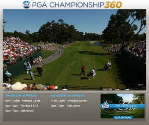 PGA.com's desktop offerings include a 360-degree camera that fans can move in real time.