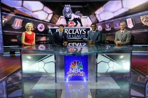 NBC Sports' Premier League studio crew of (from left) host Rebecca Lowe and analysts Kyle Martino, Robbie Earle, and Robbie Mustoe.