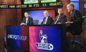 From left: Jon Miller, NBC Sports president of programming, Richard Scudamore, chief executive of the Premier League, Mark Lazarus, NBC Sports Group chairman, and Sam Flood, NBC Sports executive producer discussed the details of NBC Sports Group's coverage at a press conference at 30 Rock in April.