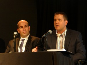 Ross Video's Scott Bowditch (left) and Mass Relevance's Kevin Daniels