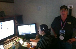 Evertz's Joe Cirincione (right) with the Dreamcatcher 4K replay system and operator housed in ND3
