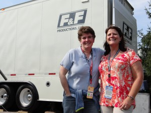 Coordinating producer of production Amy Rosenfeld (left) and  remote operations manager Terri Dippolito run the show tonight for ESPN's big broadcast of USA-Mexico from Columbus, OH.