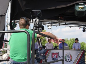 While not a rightsholder of the game, ESPN Deportes does have a studio set broadcasting live hits from the Crew Stadium parking lot.
