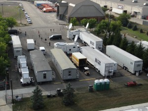 "F&F Productions and Columbus' own Lyon Video are at the center of the production compound outside Crew Stadium. ""This compound is looking like a Monday Night Football compound,"" says Rosenfeld."