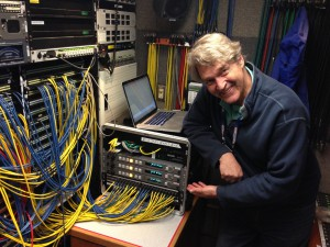 ESPN ITV audio engineer Steve Fisher shows off Lance ADX-2400N, which handled internal audio communications for the production team.