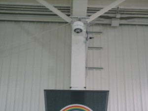 HE50Ss cameras mounted to the corner of the ceiling allow Michigan State to get sideline shots normally unobtainable at the team's indoor practice facility.