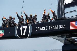 The triumphant Oracle Team USA team (Credit: ACEA and Gilles Martin-Raget)