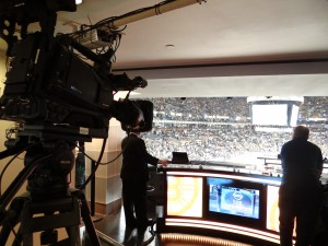 NESN hosts its pregame, between-periods, and postgame coverage from a set inside a luxury box at TD Garden.