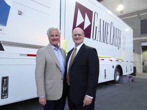 Game Creek Video president Pat Sullivan (left) and NESN Vice President, Programming and Production Joseph Maar were critical in the development of the new truck.